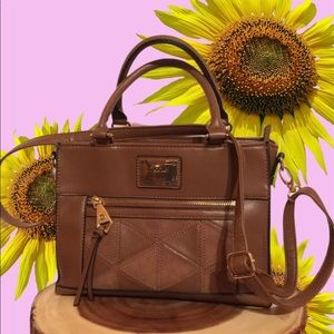 Nicole Miller Sienna Satchel Crossbody Handbag EUC